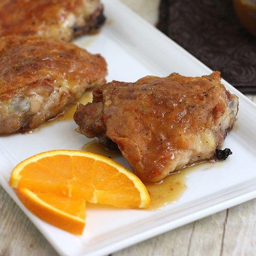 orange-honey glazed chicken thighs: Chicken Recipes, Orangehoney Glaze, Chicken Dishes, Thighs Sound Yummy, Honey Glaze Chicken, Orange Honey, Culinary Adventure, Glazed Chicken, Chicken Thighs Sound