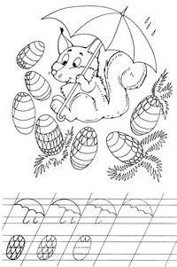Белочка - скачать и распечатать раскраску. Раскраска Белка с шишками, учимся рисовать, разукрашка для детей, рисунок с прописями, соедини линии, картинки детские, зонтик, дождь, скачать школьные прописи