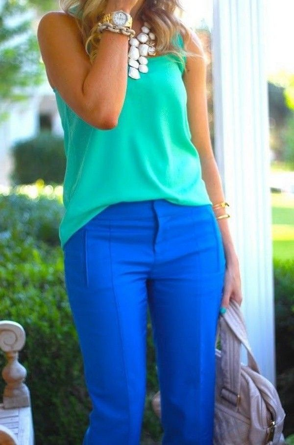 Love the idea, especially the top and necklace, not sure about the pant color