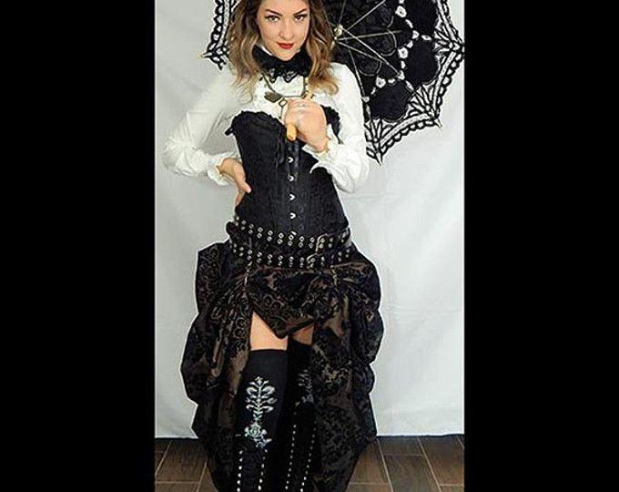 Listo para enviar el corsé satén negro con MARRÓN/NEGRO Damasco bullicio falda, victoriano, Cosplay, vestido, traje de ropa Steampunk