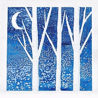 strips of masking tape and then dark blue watercolor with some salt sprinkled over it. After it dries you take off the tape, paint on the moon with white paint and use watered down blue watercolor to put shadows and lines on the trees.