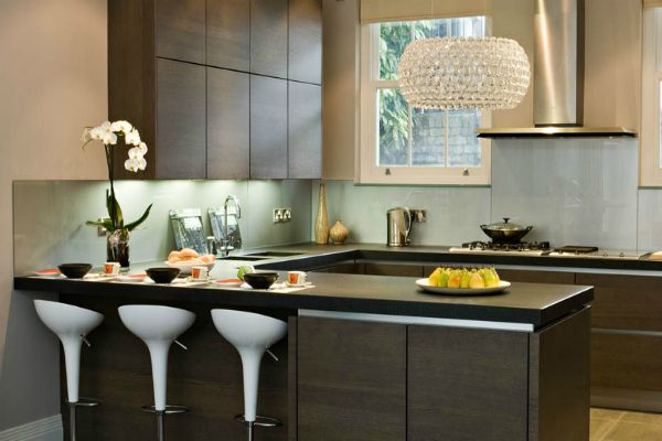 Contemporary Kitchen Design Ideas With Black Wood Kitchen Island And White Modern Chairs Listed
