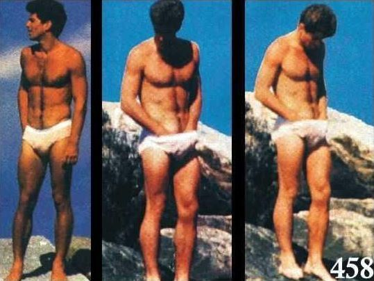 Naked boys skinny dipping