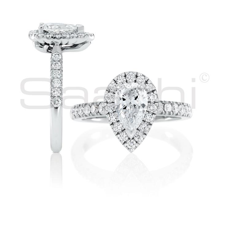 Saachi, Pear Mahina Diamond Engagment Ring