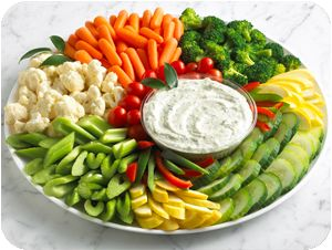 fresh veggies for a crowd: 2 oz. per person (source: http://www.ellenskitchen.com/forum/messages/1946.html)
