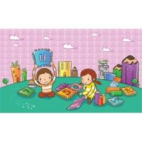 cute school children playing with play cards in park vector kids illustration