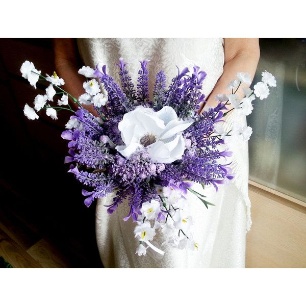 Lavender and white wedding bouquet fake flowers, magnolia, matthiola,... ($50) ❤ liked on Polyvore featuring home, home decor, floral decor, flowers, white flower bouquet, fake flowers, fake flower bouquets, silk flower bouquets and purple flower bouquet