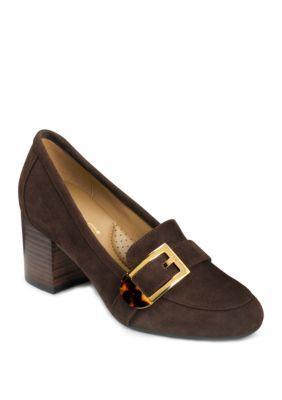 Aerosoles Pattern Work Stacked Heel Shoes – Dark Brown Suede – 10M