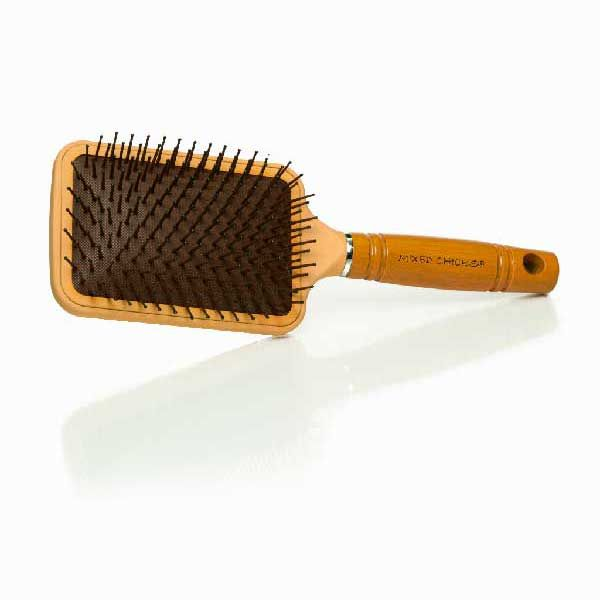 MIXED CHICKS paddle brush with hardened plastic and a thick WOOD HANDLE is very popular for people with wavy hair, curly hair, and tangled hair.
