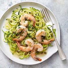 Shrimp piccata with zucchini noodlesThe tangy lemon-caper sauce in this healthy Italian makeover recipe is a natural with shrimp.