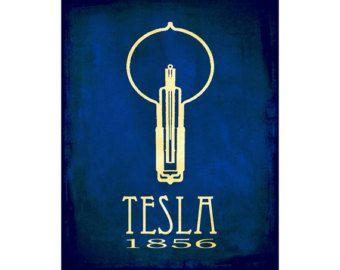 Wetenschap kunst Print 11 x 14 - Nikola Tesla Art Poster, Steampunk kunst, Rock sterren wetenschapper, natuurkunde Art School Art Poster, gloeilamp Geek kunst