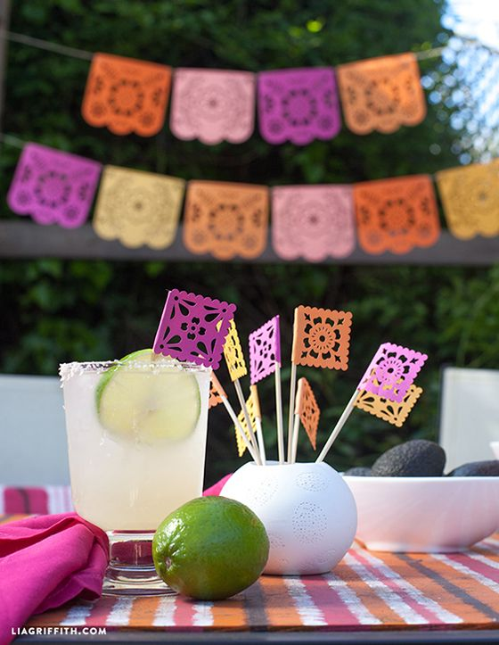 DIY Free Downloadable Printable Papel Picado Banner Plus Drink Stirrers/Cupcake Toppers/Appetizer Picks for Cinco de Mayo | liagriffith.com