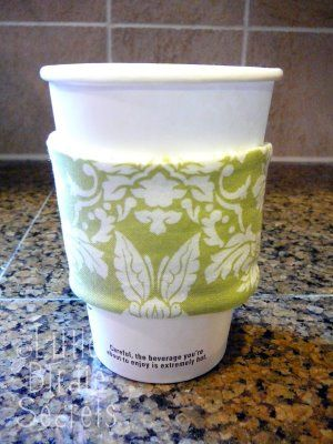 """What you'll need: *Cardboard cup sleeve from your favorite coffee shop *1/8 yard or scrap of fabric *4""""x12"""" piece of Insul-Brite (buy 1/8 yard) *Sewing machine and coordinating thread"""