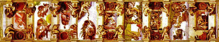 """Estos nueve frescos tienen tres significados:1) Los tres primeros (desde la izquierda) significan la """"creación del mundo"""".2) Los tres siguientes se refieren a la """"creación del hombre, de la mujer"""", y posterior expulsión de ambos del Paraíso 3) Los tres últimos hacen referencia a la """"maldad del hombre y al castigo divino con la """"embriaguez de Noe"""", el """"diluvio universal"""" y el """"sacrificio de Noe"""", cuando Dios lo consideró como el único hombre que debía subsistir, con su familia y el mundo…"""