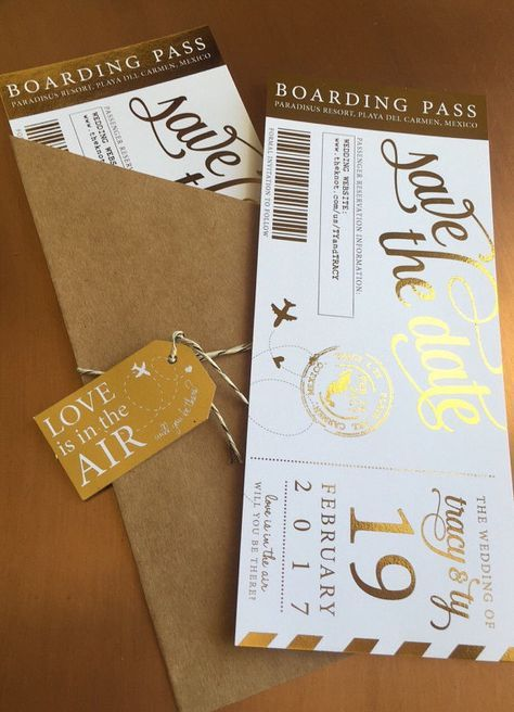 Shimmering Modern Metallic Custom Boarding Pass Save the Dates- Destination wedding