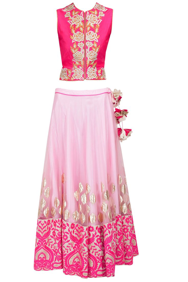 Pink embroidered lehenga with fuchsia silk blouse available only at Pernia's Pop-Up Shop. #amritathakur #designer #collection #lehenga #ethnic #indian #shop #buy #wear #collection #fashion #style