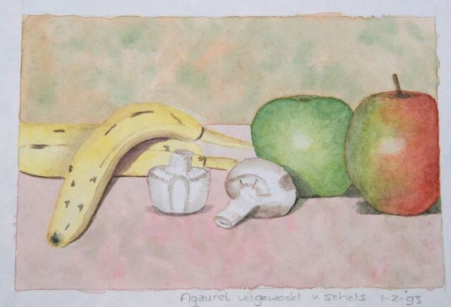 Fruit.   Watercolor.                                 Signed by Wilma                                     www.werkvanwilma.nl