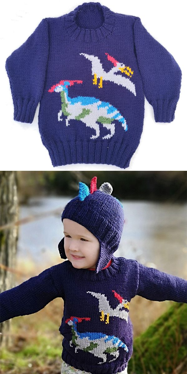 Knitting Pattern For Dinosaur Child S Sweater And Hat Pullover