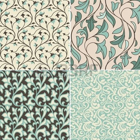 Vector set with vintage seamless patterns - abstract background in ...
