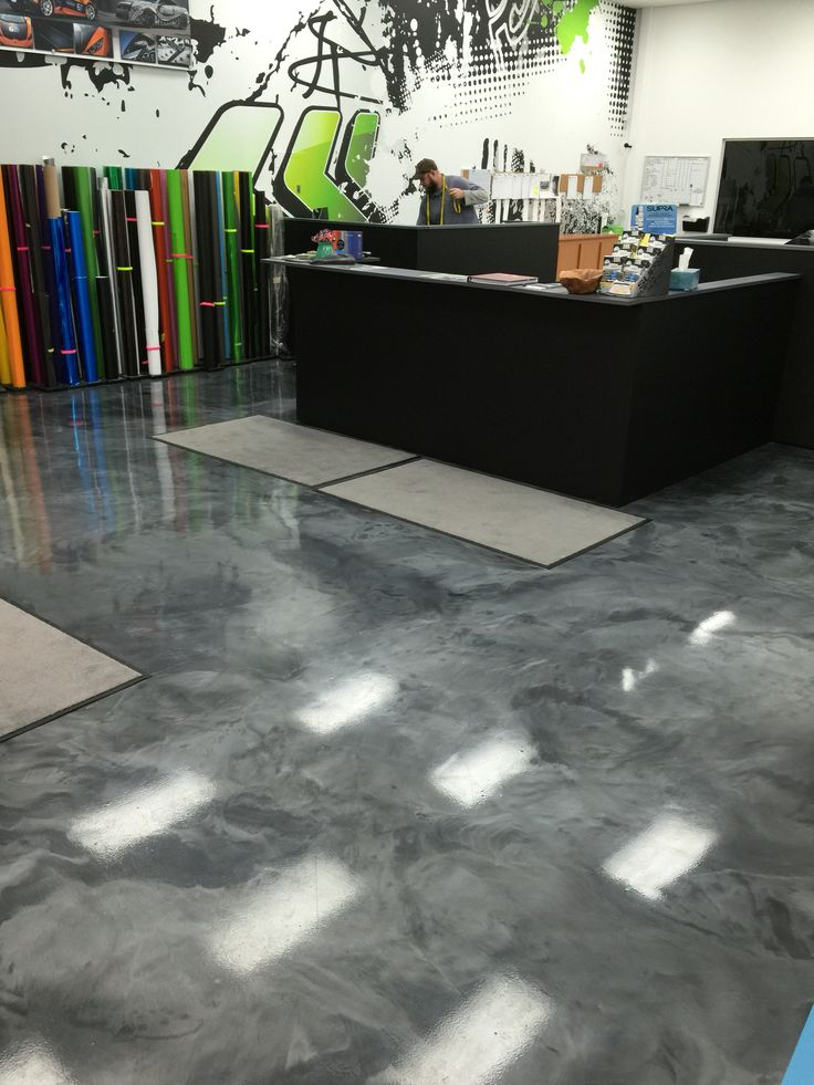 Metallic Epoxy Floor Coating Installed For A Print Shop By