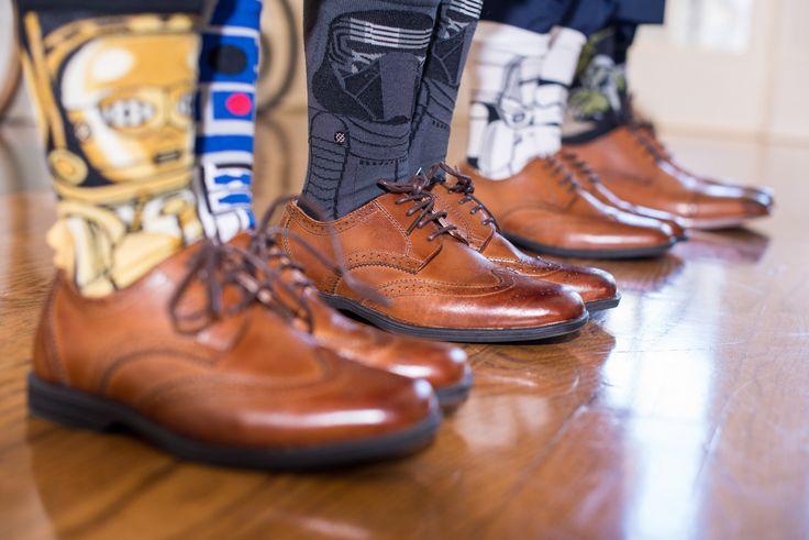 "More hidden gems for sneaky details in a ""normal"" wedding! Star Wars inspired groomsmen socks"