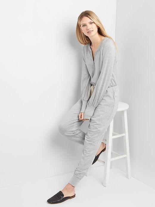 Fleece long sleeve jumpsuit