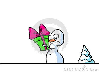 Christmas snowman character gift surprise cartoon illustration isolated image