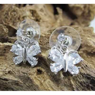 Aretes con forma de mariposa con piedras de zircon con for Accesorios bano piedra