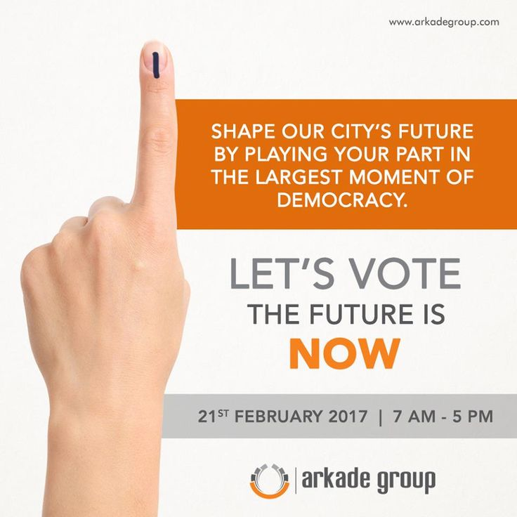 Shape up our city's future by playing your part in the largest moment of democracy.   LET'S VOTE The Future is NOW  Date: 21st February 2017  Time: 7 AM to 5 PM  www.arkadegroup.com  #ArkadeGroup #RealEstate #Voting #Citizen #VoteForChange #Development #TheFutureIsNow #LetsVote #Election2017 #Mumbai