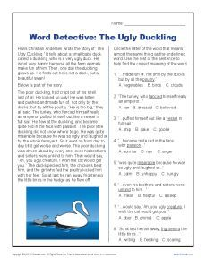 http://It'sworddetectivetimewiththiscontextclueworksheetfeaturingTheUglyDuckling.