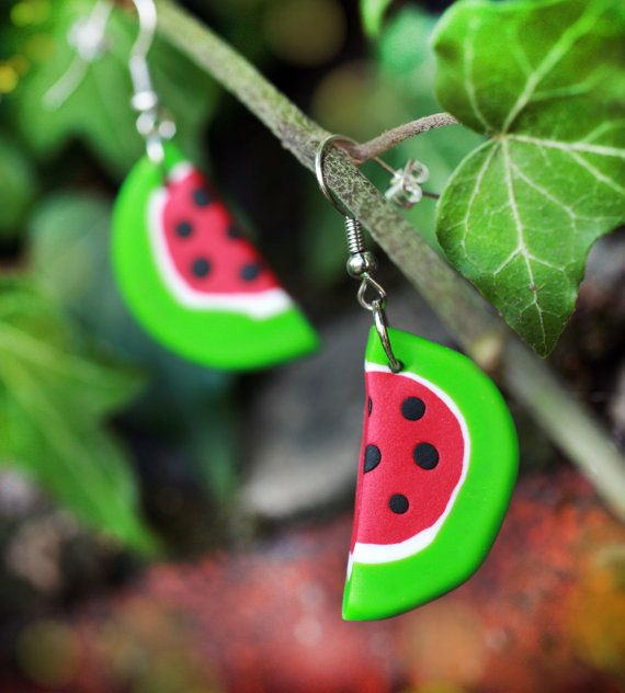 Watermelon earrings Handmade ladies jewellery by handmadeBYmamas