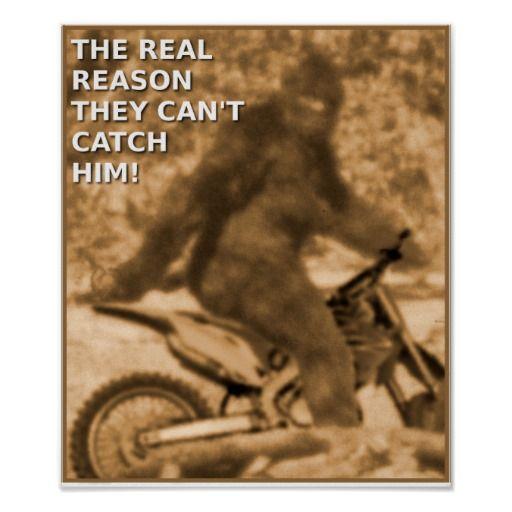 Motocross Sasquatch Dirt Bike Big Foot Funny Poste Poster by allanGEE