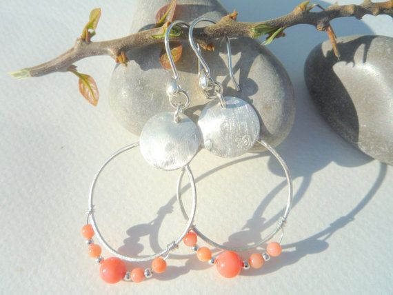Beautiful, Playful, Dangle handcrafted ,Round ,Hoop Sterling Silver earrings.