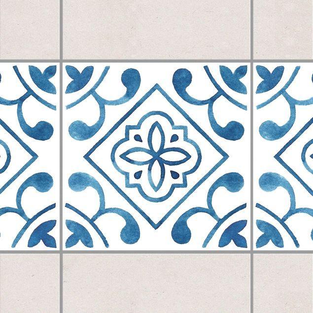 Fliesen Bordure Muster Blau Weiss Serie No 2 1 1 Quadrat 20cm X 20cm Fliesenaufkleber Fliesenaufkleber Fliesen Bordure Fliesen