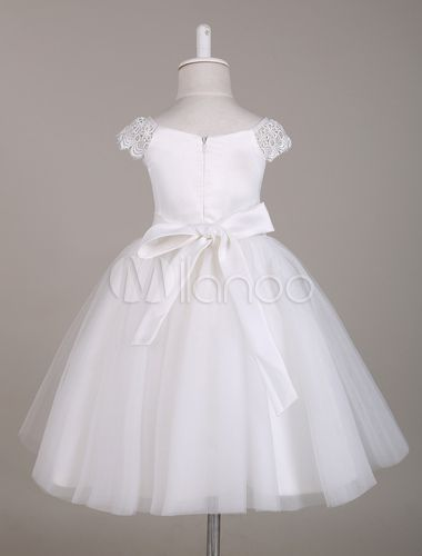 White Lace Flower Girl Dress with Cap Sleeves