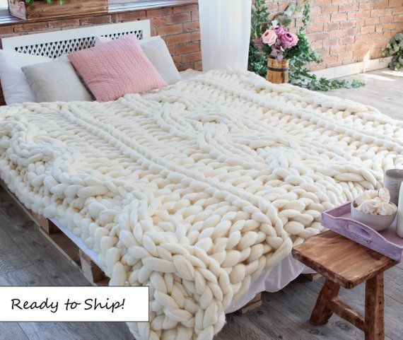 Off White Chunky Knit Blanket Cable Knit Blanket Wedding Gift