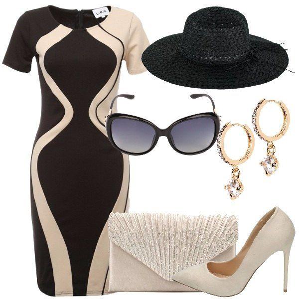 Il vestito a tubino è a maniche corte e bicolore, nero e beige ed arriva al ginocchio. La borsa a busta da lettera è beige con strass e catenella. Le décolleté sono anch'esse beige ed hanno il tacco a spillo. Gli orecchini, a piccolo cerchio sono in metallo dorato con zirconi. Gli occhiali da sole hanno, invece, la montatura nera ed i dettagli sulle stanghette color oro. Il cappello di paglia nero e a tesa larga, infine, ha una stringa decora...
