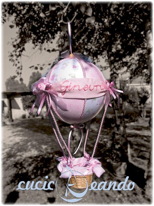 fiocco nascita mongolfiera rosa, sfera da 20 cm, altezza circa 40 cm.