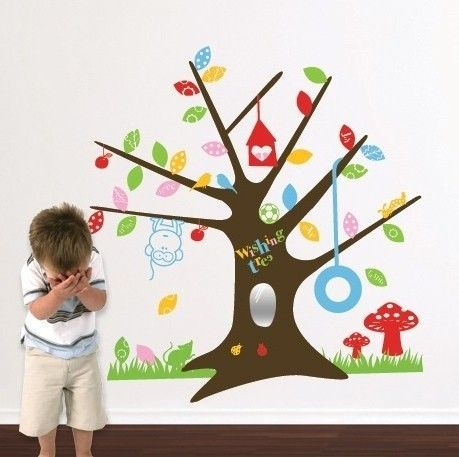 Whimsical Wall Stickers - Wishing Tree (Decal), $19.95 (http://www.whimsicalwallstickers.com.au/wishing-tree/)  A gorgeous wishing tree filled with colourful leaves and playful little birds, a monkey and a tyre swing   Contents:  stickers and transfer paper  Size: when installed: 1.16 m x 1.25 m (estimated)   Material: Vinyl Fabric  Backing colour: transparent backing