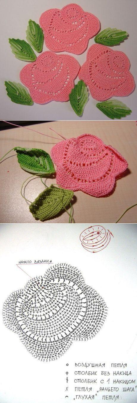 Crochet applique Rose chart diagram .. Розочки крючком