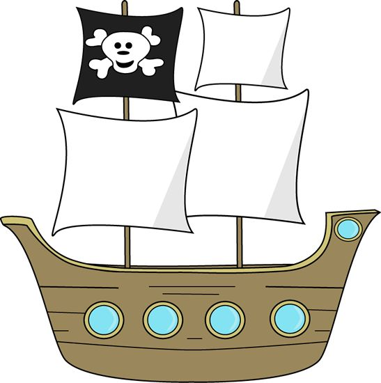 Pirate ship clip art - use as template to make homemade ship from cardboard boxes
