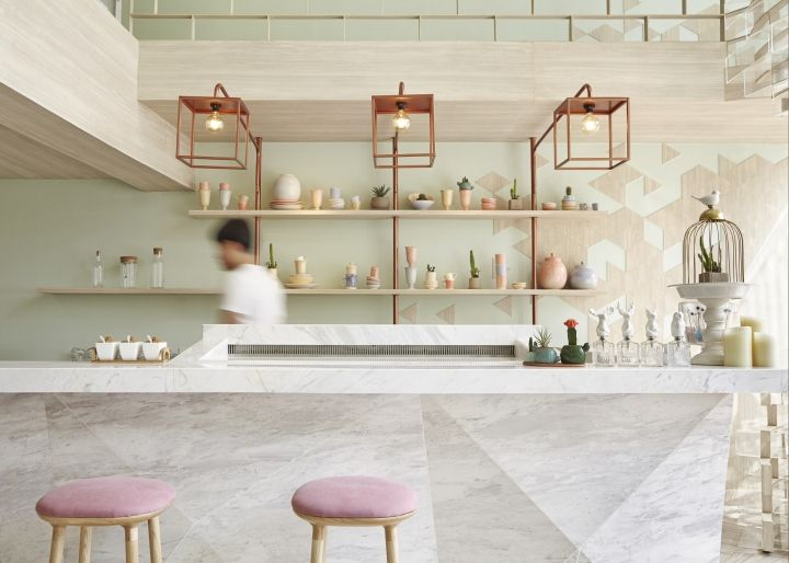 shugaa dessert bar by partyspacedesign bangkok thailand retail design - Beaded Inset Restaurant Interior