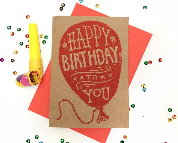 A perfect birthday card for someone bright and cheerful. This card features a little bit of hand drawn type, carved and hand printed as a linocut