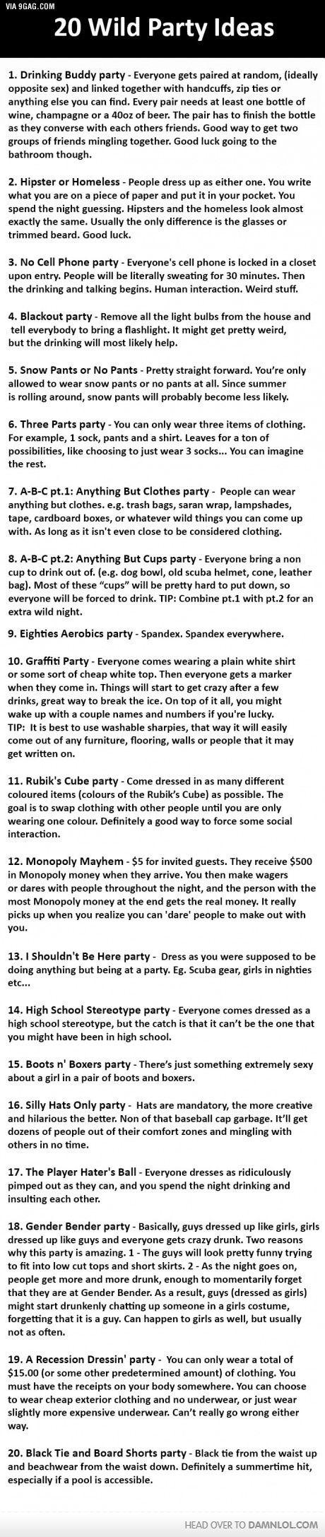 20 Wild Party Ideas