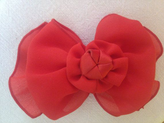 Beautiful Vintage Hair Bow Bright Red Chiffon Hair by 2Crafty4You