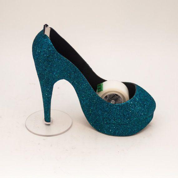 Glitter  Teal Blue High Heel Tape Dispenser by by princesspumps