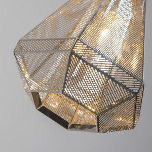 Lámpara colgante VINCE cromo - Lámpara colgante hecha con láminas de acero inoxidable muy finas. Las finas aberturas de las láminas proporcionan un efecto muy agradable.  #vintage