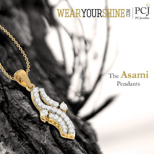 """The ultimate jewel-affair is here, shop """"The #Asami #Pendant"""" on WearYourShine today! #WearYourShine #Love #PCJeweller #Bracelets #Pendants #Diamonds #Fashion #Women #Jewellery #India #Engagement #Wedding"""