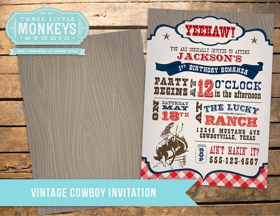 Vintage Cowboy Party Pack in Dark Blue  by 3LittleMonkeysStudio