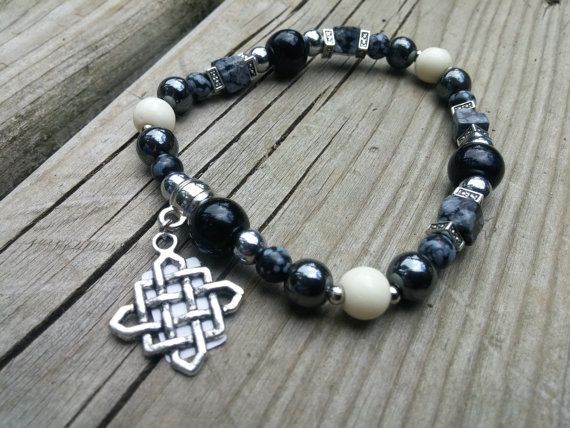 Gemstone Elastic Bracelet  Celtic  Man  Beaded by WitchesCreations